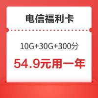 CHINA TELECOM 中国电信 中国电信 福利卡(10G通用+30G定向+300分钟,视频VIP会员12个月4选1)